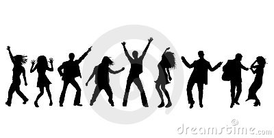 Dancing party silhouettes