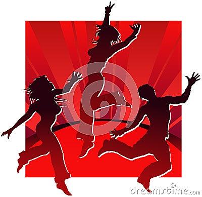 Dancing people in red