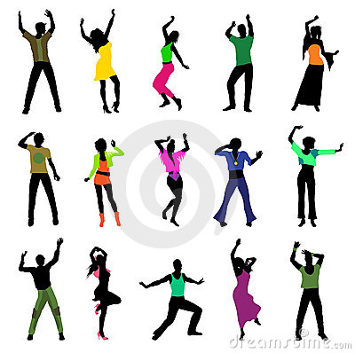 Free Dancing People Silhouettes Stock Photos - 20419883
