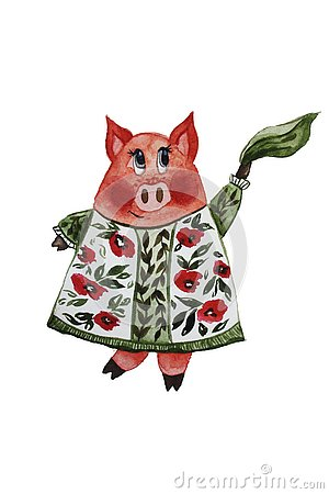 Dancing pig in a dress Stock Photo