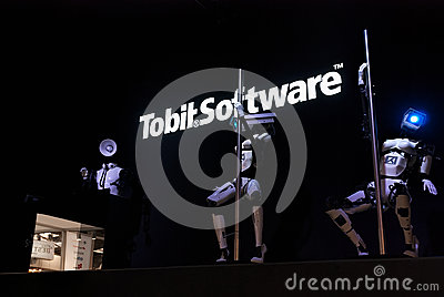 Dancing Robots and DJ, Cebit Editorial Stock Photo
