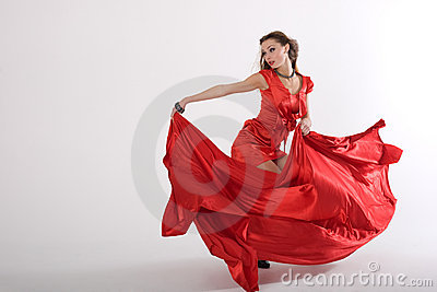 Dancing sexy lady in red