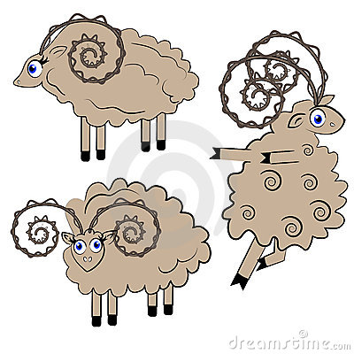 Dancing sheep  illustration. animal set.
