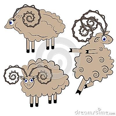 Dancing sheep  illustration. animal set.
