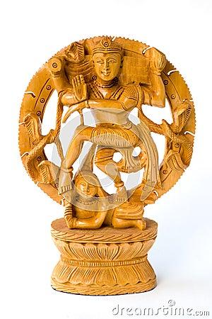 Dancing Shiva. Wooden statue