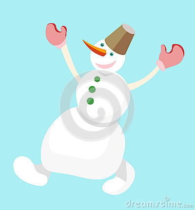 Dancing snowman with a bucket on his head on a blue background. Vector Vector Illustration