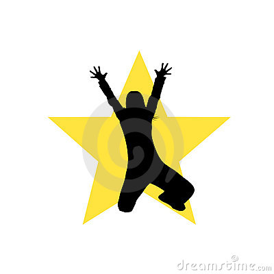 Dancing star girl silhouette