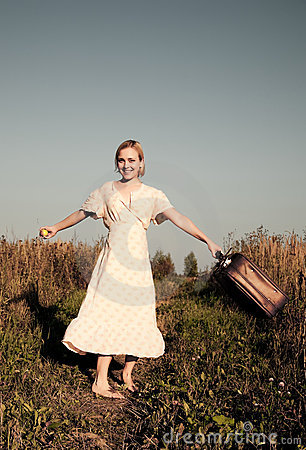Dancing with suitcase