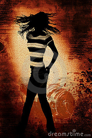 Dancing Teen Silhouette over Grunge Illustration