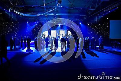 Dancing under blue lights