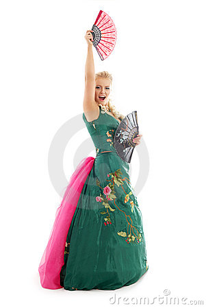 Free Dancing With Fans 2 Royalty Free Stock Photography - 1952007