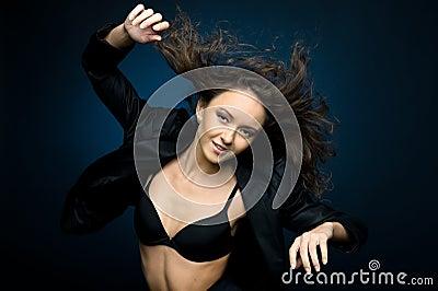 Dancing woman with flyaway hair