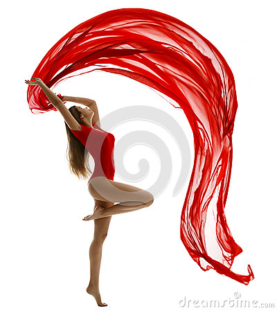Free Dancing Woman, Flying Red Cloth On White, Gymnast Gir Dance Stock Images - 56992564