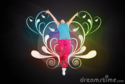 Dancing woman jumps on ornament background