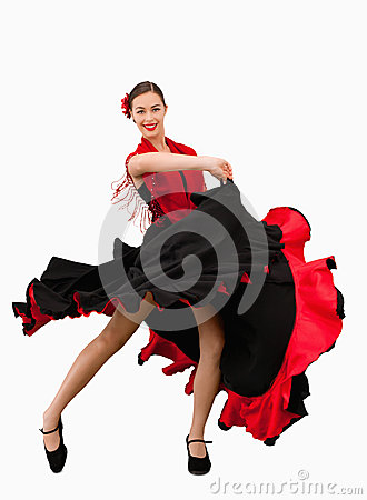 Dancing woman in a red and black dress