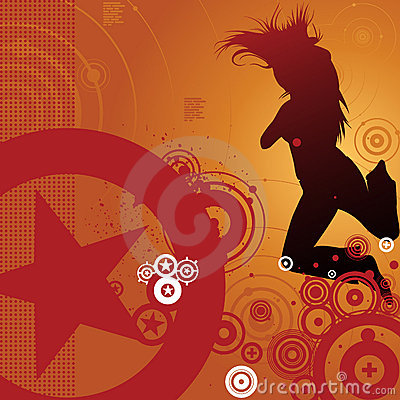 Dancing woman and retro background