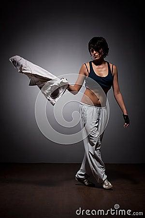 Dancing woman in street style