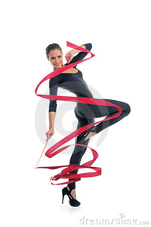 Free Dancing Woman With Red Ribbon Royalty Free Stock Photo - 20139665