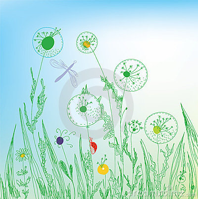 Free Dandelion And Grass Field Stock Photos - 23495473