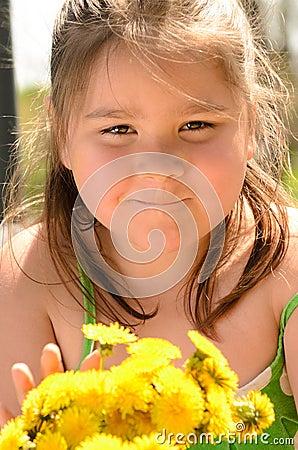 Dandelion Bouquet Girl