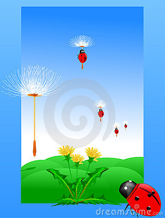 Dandelion and ladybug on a green meadow Vector