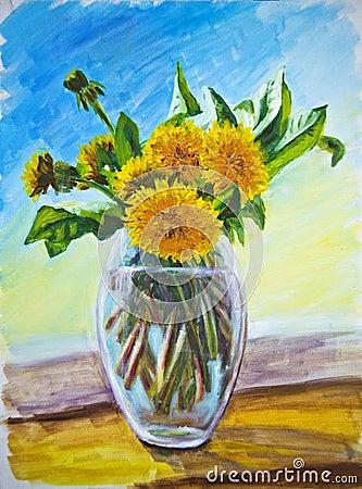 Dandelions, oil painting
