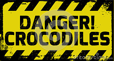 Danger crocodiles sign Vector Illustration