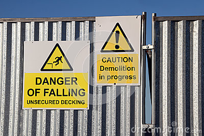 Danger demolition falling signs