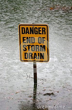 Danger end of storm drain sign
