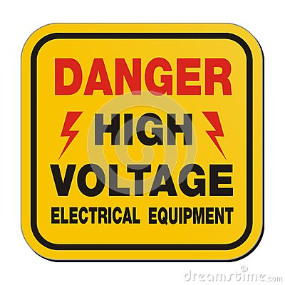 Free Danger High Voltage Electrical Equipment - Yellow Sign Stock Images - 35699794