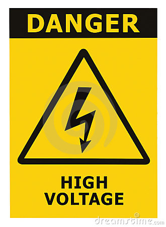 Danger High Voltage Sign With Text Isolated Royalty Free