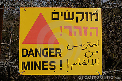 Danger - mines sign