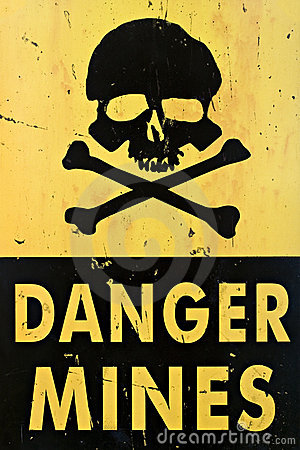 Free Danger Mines Warning Sign Closeup Stock Images - 3947474