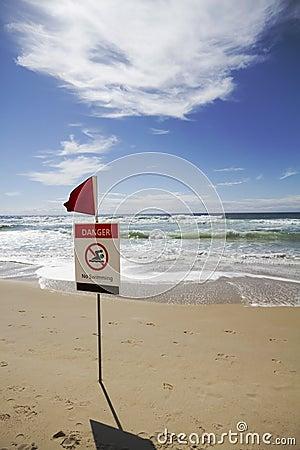 Free Danger No Swimming Vertical Stock Photo - 28150950