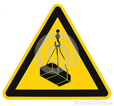 Free Danger Overhead, Crane Load Falling Hazard Risk Sign, Cargo Icon Signage, Isolated Black Triangle Over Yellow, Large Macro Closeup Royalty Free Stock Photo - 68544535