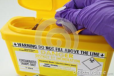 Danger sharp needle hazard