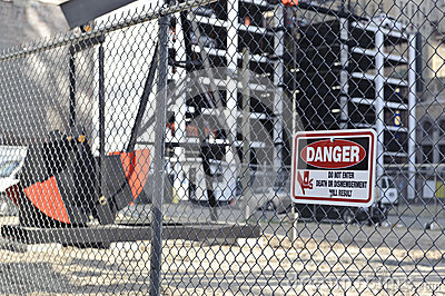 Danger sign on construction site
