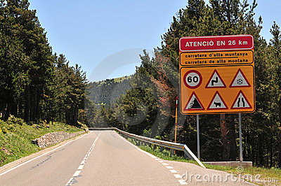 Danger sign by road