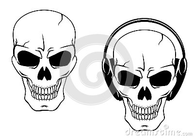 Danger skull in headphones