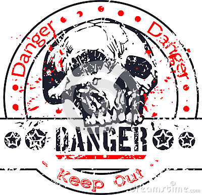 Danger stamp with skull