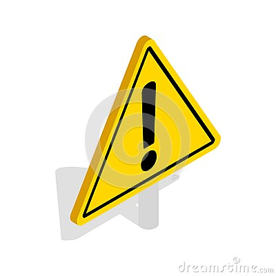 Free Danger Warning Sign Icon, Isometric 3d Style Stock Image - 123231561