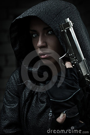 Danger woman with gun