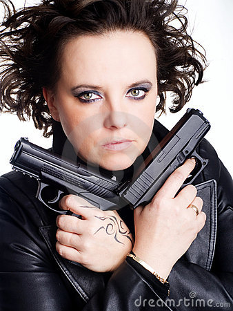 Danger woman holding two guns
