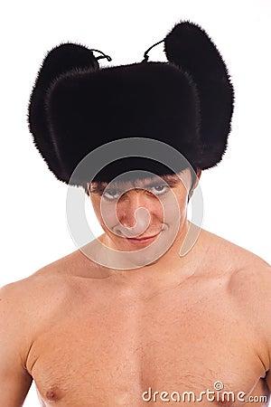 The dangerous adult man in Russian national cap
