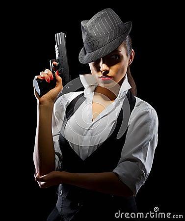 Free Dangerous And Beautiful Criminal Girl With Gun Stock Image - 36278241
