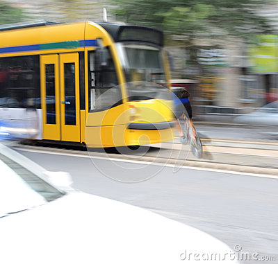 Free Dangerous City Traffic Situation With Cyclist And Tram Stock Photography - 44760352