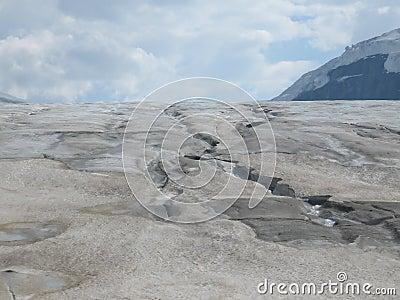 Dangerous Crevices on Glacier at Banff National Park.