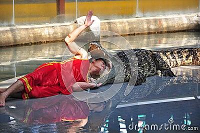 Dangerous crocodile show Editorial Stock Photo