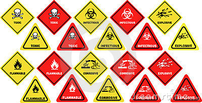 Dangerous goods warning signs - vector