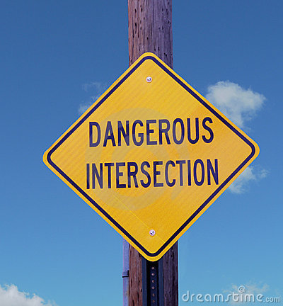 Dangerous Intersection Sign.